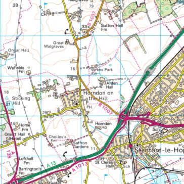 Map showing Horndon-on-the-Hill